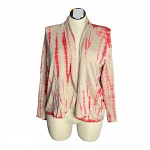 Cyrus Brown Pink Tie Dye Open Front Cardigan